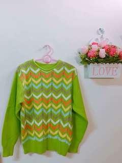 🚚 降價賠售❤️果漾綠針織波浪紋上衣