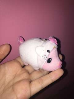 Pig in a hello kitty onesie Keychain