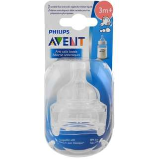 Philips Avent, Variable Flow Anti-Colic Nipples, 3 + Months, 2 Pack