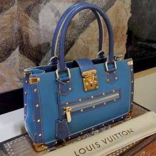 LOUIS VUITTON blue suhali leather le fabuleux bag