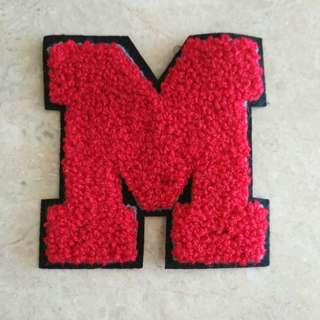 🚚 Sew on patch - Red Alphabet M