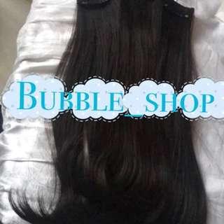 Hairclip 100% human hair garansi isi 3 layer clip