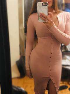Fashion Nova pink body con with gold buttons