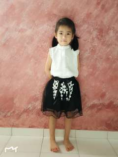 Girls 2 Pieces Set White Blouse + Black Skirt