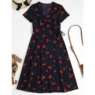 Cherry wrap dress
