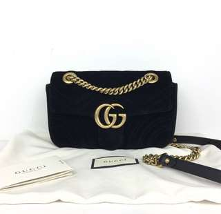 Gucci Marmont Bag in Black Suede