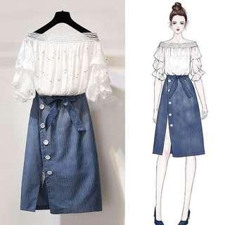 氣質開衩裙甜美套裝 NT$500元/套,預訂, 尺寸:S,M,L,XL,2XL 材質:混紡棉