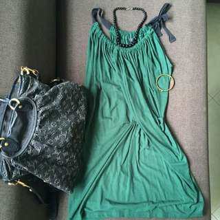 Forest green strapped dress