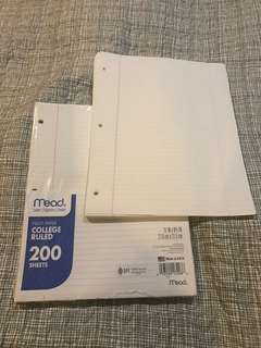 Mead 200 sheets college ruled