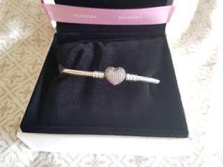 Pandora cubic zirconia heart bracelet
