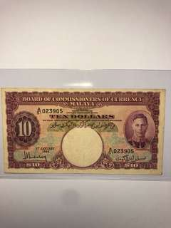 1940 Malaya King George VI $10 A/51 023905 Original GVF