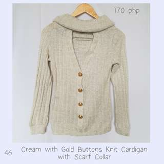 Cream with Gold Buttons Knit Cardigan with Scarf Collar