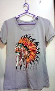 Gray Tee with Indian Headdress Print