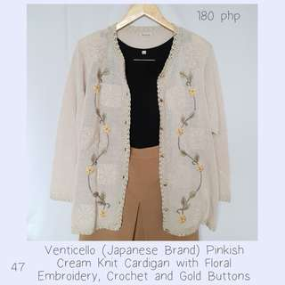 Venticello (Japanese Brand) Pinkish Cream Knit Cardigan with Floral Embroidery, Crochet and Gold Buttons
