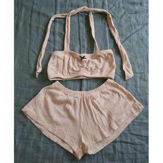 pazzo 居家甜美睡衣睡褲S號 純棉米色緹花布點點 (童裝.嬌小女生) 台灣製造