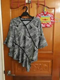 🚚 衣櫃出清 設計感 中國風 圖騰 飄逸 氣質 女生 時尚 個性 剪裁 設計 春秋 上衣淑女