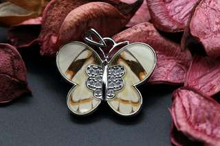 Navia Jewelry Real Butterfly Wing Delias anjae Silver Pendant Korea