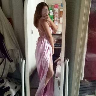 Pink satin long gown for night or beach party