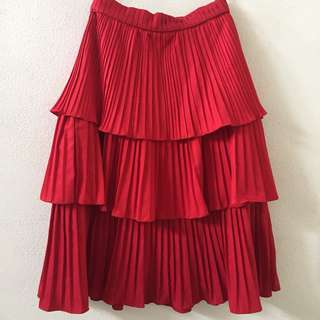 Basic Movement Red Ruffle Midi Skirt