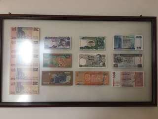Framed real money currency notes with same last 4 numbers