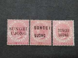 Straits Settlements 1884 1885 Two Cents Overprint Sungei Ujong Pre Negri Sembilan - 3v MH Malaya Stamps