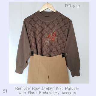 Remove Raw Umber Knit Pullover with Floral Embroidery Accents