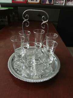 Old Champagne Flute Glasses with serving tray