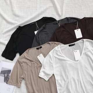 🚚 《早·衣服》6月心品🚣🏻♀️打底超好用輕薄透氣百搭顯瘦寬鬆U型領雞蛋領純色短袖T恤(預)