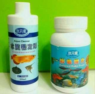 🚚 水元素水質穩定劑( 約容量為350ml) 水元素彩色薄片 魚飼料