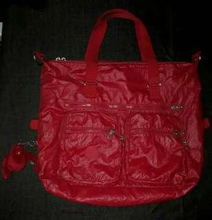 Kipling Red Big Shoulder Bag Authentic