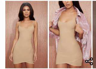 Camel strappy bodycon dress pretty little thing