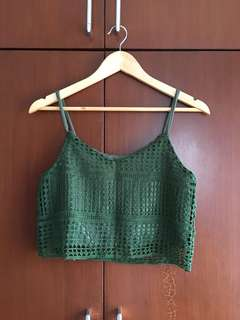 Moss Green Lace Cropped Top