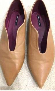Zara camel leather flats sz 40