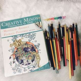 Coloring book for adults with free colored pencils