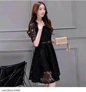 Lace dress w/belt