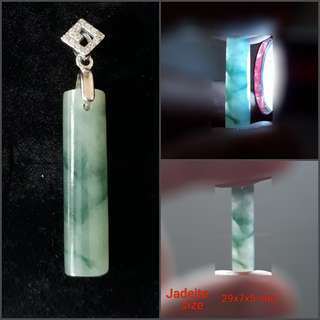 Jadeite Pendant(翡翠吊坠). Set in 925 silver plated white gold bail with zircon. Direct from Myanma.