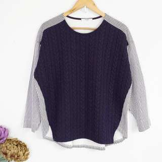 [RESERVED] Aura Korea Blue & Striped Longsleeve Pullover Blouse Top