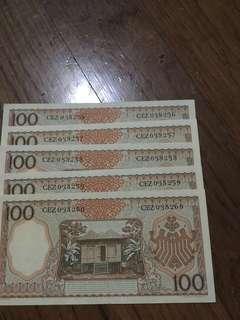 Uang 100 rupiah th. 1958