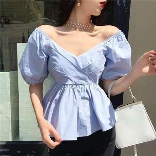 Minimei追加款✪韓系韓版百搭休閒性感大V領泡泡袖襯衫女夏收腰修身套頭娃娃衫 上衣