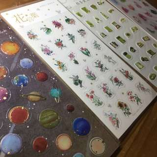 Cute Stickers (Planets, Flowers, Matcha, Crystals)