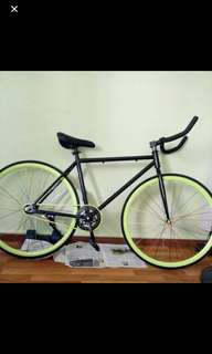 Lime Green Fixie with bull horn