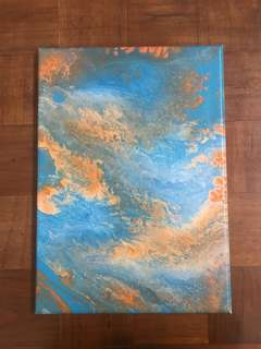 Abstract Blue and Orange Acrylic Waves Painting 13.9 x 10 inch