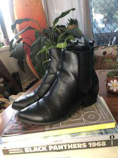 Black faux leather boots size 7-7.5