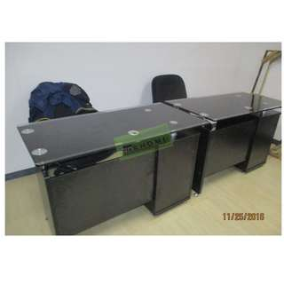 OFFICE TABLES GLASS TOP WITH CABINET--KHOMI