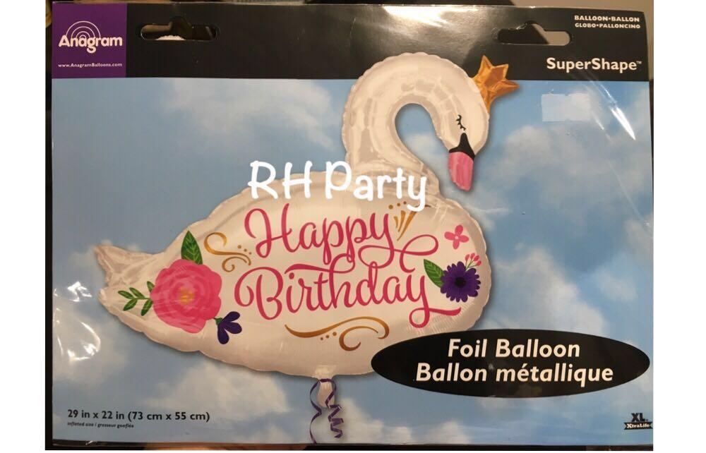 13 6 Include Helium Happy Birthday Beautiful Swan Foil Balloon