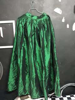 Long green balloon type skirt