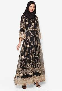 Zalia Embroidered Flare Sleeve Dress