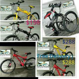 "Full Suspension 24"" & 26"" Bicycles from $198! ROVER Foldable MTB $198 / CROLAN Aluminum MTB $288 - $298 ✩ Shimano 21 Speeds, Disc brakes ✩ Brand New MTB / Mountain Bikes"