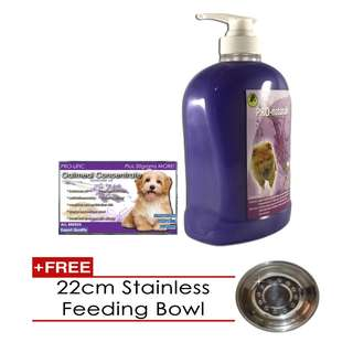 Pro-naturale 3 in 1 Shampoo 1000mL (Lavender) & Oatmeal Soap with free stainless feeding bowl