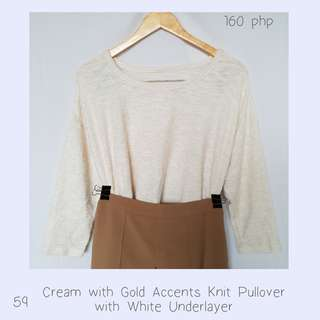 Cream with Gold Accents Knit Pullover with White Underlayer